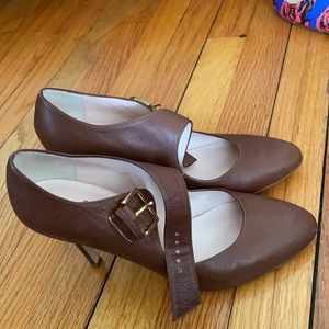 Brown Leather Kate Spade Mary Janes Sz 7 So Chic!